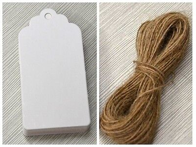 100white Kraft Paper Gift Tags Wedding Scallop Label blank Luggage Tags+Strings