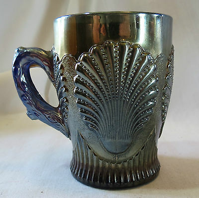 Dungan Cobalt Blue Carnival Glass Beaded Shell Mug