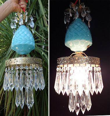 1of2 Vintage Aqua Blue glass tole Brass SWAG hanging lamp crystal prisms Italy