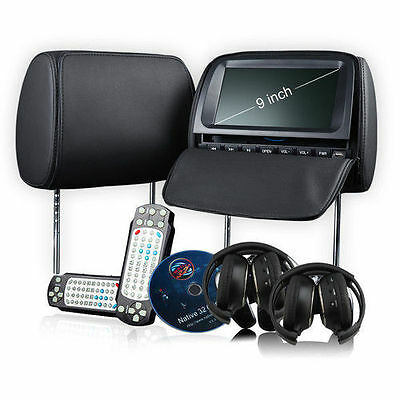 "9"" BLACK LEATHER HD LCD Car Pillow Headrest DVD Player IR FM 2 Headsets"