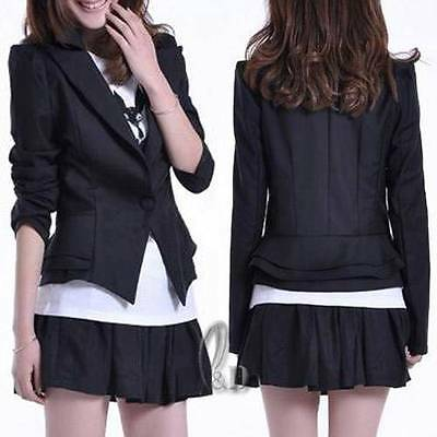 Ladies Black Slim Blazer Jacket Tunic Coat Top Au Seller T043
