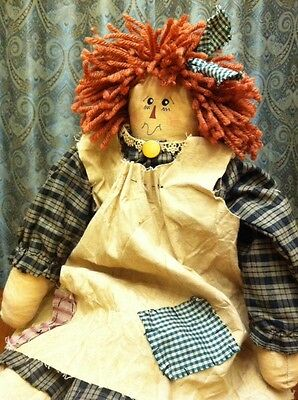 "Raggedy Ann Doll 18"" Handmade Colonial PrimItive Plaid Dress Painted Face"