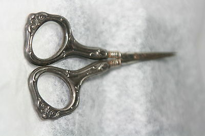 ORIGINAL ANTIQUE c1900~~STERLING EDWARDIAN SEWING SCISSORS~~ HALLMARKED HANDLES