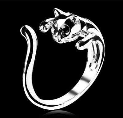 Vintage Fashion Lovely Silver Plated Kitten Cute Cat Animal Crystal Eyes Ring
