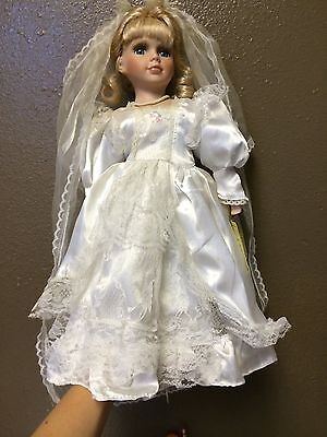 "Porcelain Doll Wedding Dress Heirloom 16"" Bride"