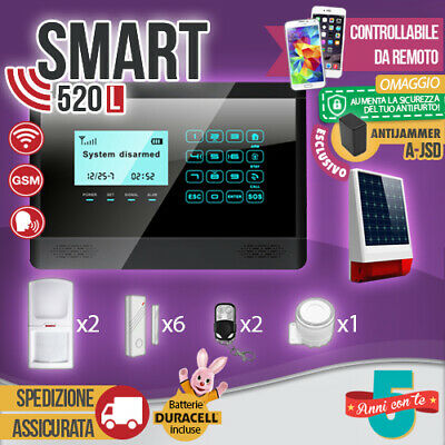 Kit Antifurto Casa Allarme Touch Screen Combinatore Gsm / App Wireless Smart520L