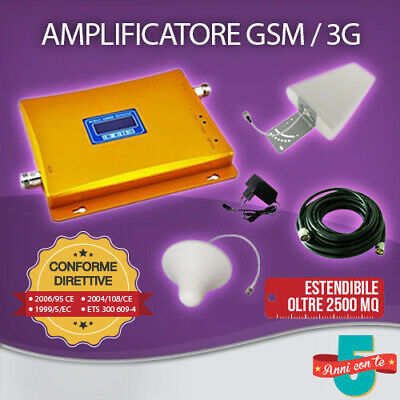 Kit Amplificatore Ripetitore Segnale Gsm Umts 3G Antenna Tim Wind Vodafone Tre