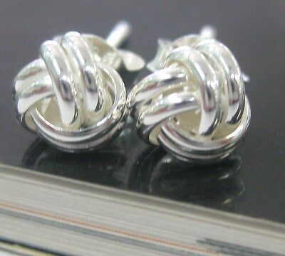 BUY 4 GET 1 FREE  925 sterling silver 6mm 8mm TWISTED  knot studs EARRINGS -GIRL