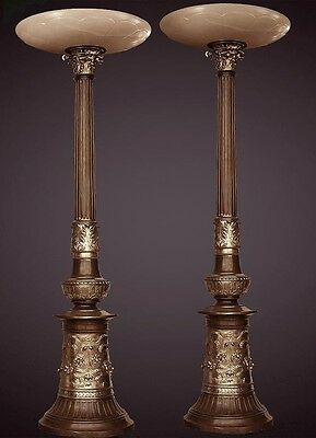 French Classical Bronze Post With Alabaster