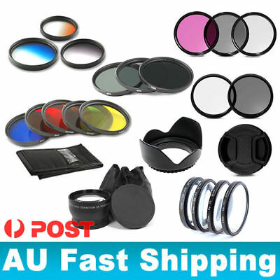 52/55/58/62/67/72/77mm UV CPL FLD Lens Cap Hood ND Close up Graduated Filter AU