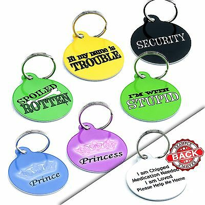 Round Funny PET ID TAGS - Dog Cat Pet Tag - Engraved FREE-PERSONALISED - Durable