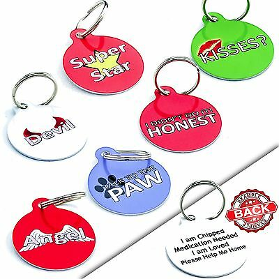 Round Funny PET ID TAGS - Dog Cat Name Disc -Engraved FREE-Durable-PERSONALISED