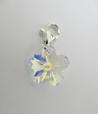Clip on Charm made with 14mm Swarovski Crystal AB Flower & Solid Sterling Silver