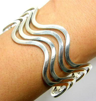 O 925 Sterling Silver Wave Curved 4 Row 37mm Wide Cuff Bracelet 6.5 in