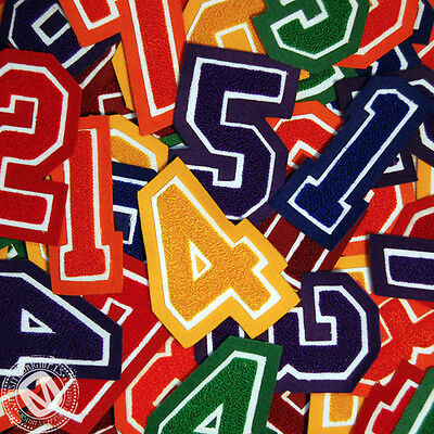 Chenille Varsity Number Patches 0-9 (12 Colors) School Number Patch MADE IN USA.