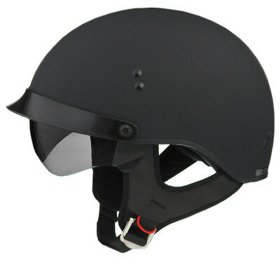 Flat Black Motorcycle Half Helmet Visor Retractable Glasses Cruiser Sizes Xs-Xxl