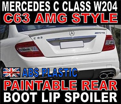 Mercedes C Class W204 Saloon AMG Style Rear Boot Spoiler PU Paintable C63 AMG