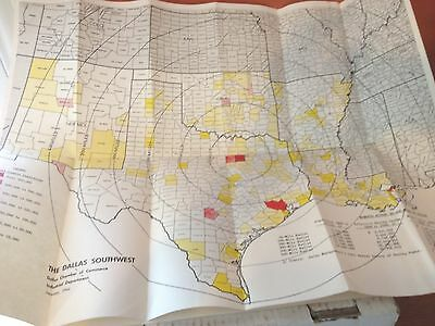 """17 x 22"""" 1962 MAP The Dallas Southwest Markets Within 50-500 Miles of Dallas"""