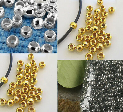 Crimp End Beads ROUND 2mm Gold Silver Plated Jewelry US SELLER!