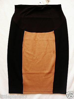 BNWT NEXT NEW RRP20 maternity jersey tube stretch black beige knee skirt Size 8