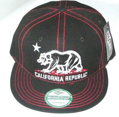 California Republic BEAR  Flat Bill STITCHES  Snap-Back  BLACK/RED by WHANG