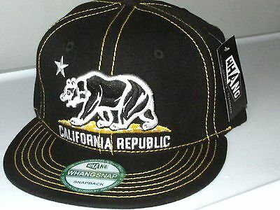 California Republic BEAR  Flat Bill  Snapback  BLACK/YELLOW STITCHES  by WHANG