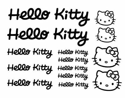 KIT 14 ADESIVI PRESPAZIATI HELLO KITTY X BICI AUTO MOTO STICKERS HELLO KITTY