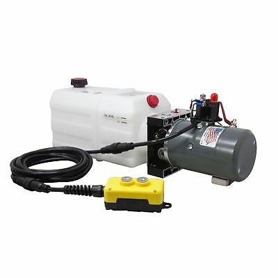 Single Acting Hydraulic Pump for Dump Trailers KTI - 12 VDC - 6 Quart Reservoir
