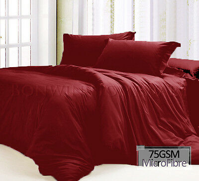 4PCS Microfiber Fitted Flat  Pillowcase Bed Sheet Set in RED All Size