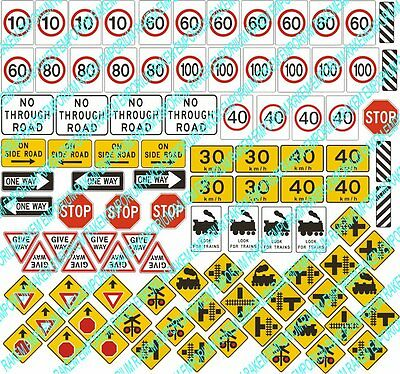 HO Scale Traffic Signs Model Railway Signs Details - 89 Signs - HOTS4