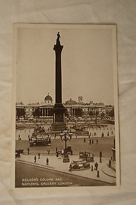 Nelson's Column and National Gallery - London - England - Vintage - Postcard.