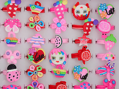 5/10/30Pcs Wholesale Jewelry Mixed Lots Kids Children Polymer Clay Finger Rings