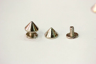 40pz borchie sfuse a cono con vite 9.5*6mm SILVER* 40 cone studs with screw