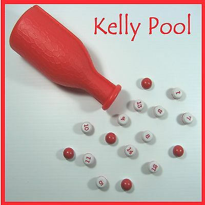 """"""" Kelly Pool """" Marbles & Shaker  NEW Red & White Bottle & Marbles"""