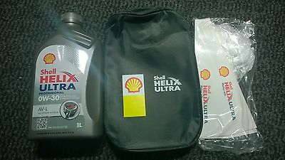 Shell Helix Ultra Professional AV-L 0W-30 1L Top Up Oil with Bag, Funnel, Gloves