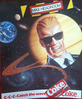 COKE POSTER~Max Headroom Coca Cola Advertising 1980s Catch the Wave Outer Space~