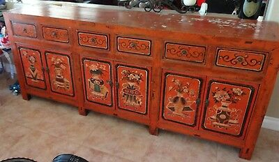 "85"" W Old Chinese buffet Console Table and cabinet sideboard"