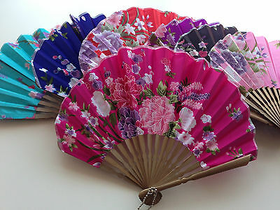 Chinese Bamboo Fabric Flower Folding Silk Hand Fans for Decorations Gifts Party