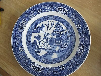 "ANTIQUE Homer Laughlin Blue Willow 9.5"" Plate birds Pagoda J 49 N 6 marked dish"