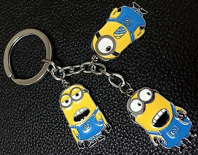 Despicable Me Minions and Unicorn Set of 3 Charms Keychain Keyring Collectable