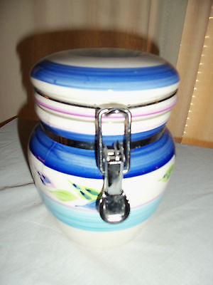 GIBSON SEALED CANISTER - BLUE STRIPED - EVERDAY CERAMIC CANISTER - FLIP LID