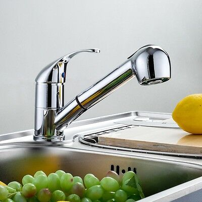Swivel Spout Kitchen Single Handle Pull Out Faucet with Multifunctional Spray