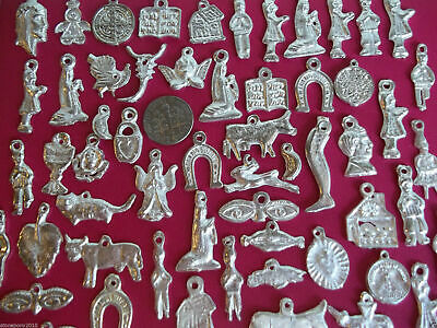 Milagros Charms 50 Shiny SILVER-tone Day of the Dead Ex Voto Nicho Miracle
