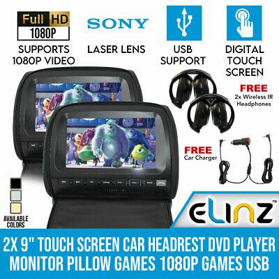 "2x 9"" In car LCD Monitor Active Headrest DVD Player HDMI Game HD Divx USB SD"