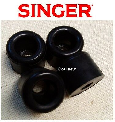 SINGER SEWING MACHINE BASE RUBBERS BOTTOM STUDS FEET BED CUSHIONS x 4 Also 221K