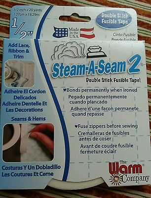"""STEAM-A-SEAM 2 ~ FUSIBLE TAPE/WEB ~ 1/2"""" X 20 YARDS #5510"""