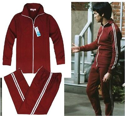 Bruce Lee Cotton Costume Classic Longstreet Red Kung Fu Suits Tracksuit Uniform