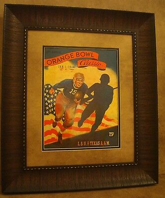 "VINTAGE TEXAS A/&M COLLEGE FOOTBALL POSTER  FRAMED /""A/&M VS SMU./"" NOV 1941"