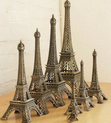 Retro Bronze Tone Alloy Metal Paris Eiffel Tower Statue Model Home Decors 5-48cm