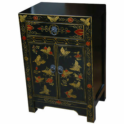 Chinese Bedside Cupboard - Butterfly Design